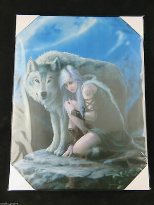 "Anne Stokes ""Protector"" Large 40x30cm Canvas Wall Art Plaque Fantasy"