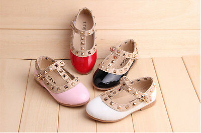 New Girl Kid Baby Toddler Sandals Rivet Buckle T-Strap Princess Dance Flat Shoes