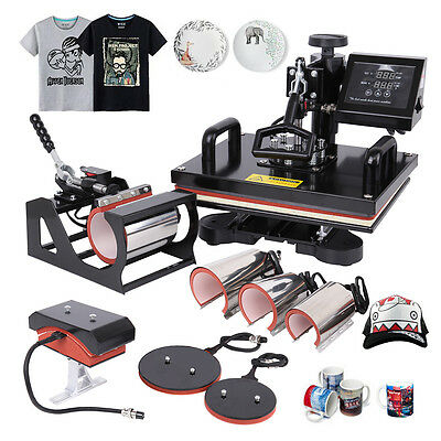 8 IN 1 1000W Heat Press Machine Sublimation Transfer Cap Plate Mug T-shirt