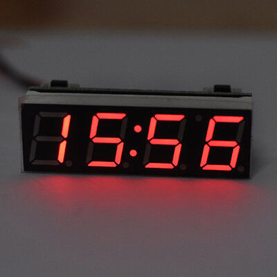 Digital led Electronic Time Clock + Thermometer + Voltmeter for Car Auto Red
