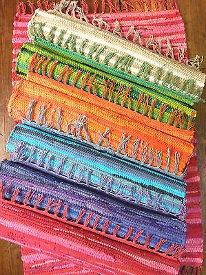 Rag Rug Mat Indian Hand Loomed Fair Trade 100% Recycled Cotton 8 Colours 2 Sizes