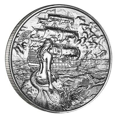 Privateer Series Siren Ultra High Relief 2 oz Silver BU Round USA Bullion Coin
