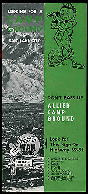1950's 1960's Allied Camp Ground Campground Salt Lake City Utah Trailer brochure