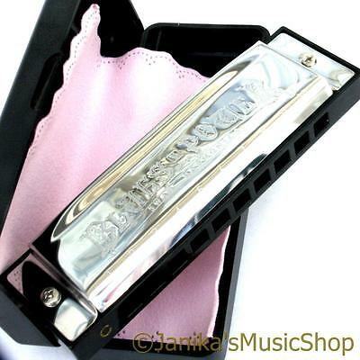 Professional swan blues power harmonica+case harp mouth organ 10 hole 3 octaves