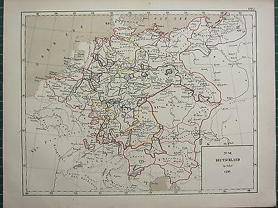 1875 Antique Historical Map ~ Germany In (1792) Bohemia Hanover Tyrol