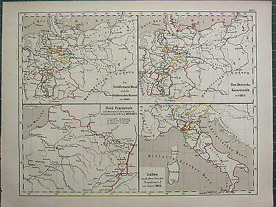 1875 Antique Historical Map ~ Italy After Fall Of Napoleon (1815) North France