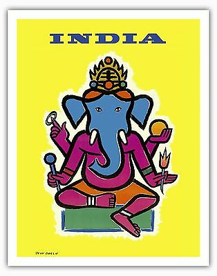 India Hindu Lord Ganesha Vintage Airline Travel Art Poster Print Giclee