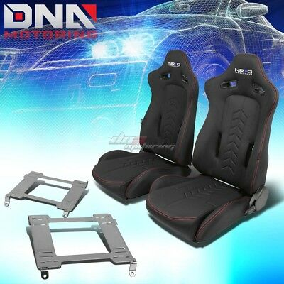 Nrg Black Reclinable Racing Seats+Full Stainless Bracket For 240Sx S13 S14 Ka