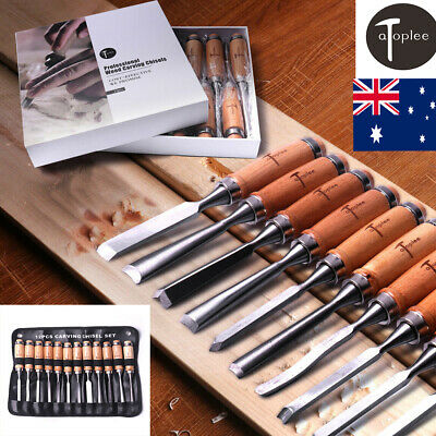12pc Wood Chisel Heat Treated Carbon Steel Carving Chisels Woodworking AU STOCK