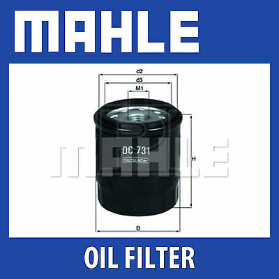 MAHLE Motorbike Oil Filter OC731 for Various Motorcycles and Scooters - Single