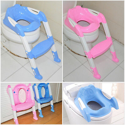 Kids Toddler Toilet Potty Trainer Seat Chair W/ Ladder Step Up Training Stool