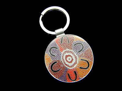 Australia Aboriginal Crow Woman Dreaming Indigenous Art Key Ring Yijan