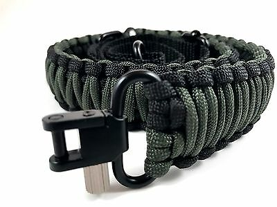 Black and OD Green Paracord 550 Adjustable Rifle Gun Sling Strap with Swivel