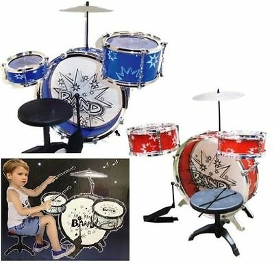 Children Kids My First Drum Set Kit Musical Fun Toy Drum With Stool & Sticks