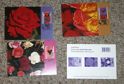 Australia Maxi Cards set of 3  VALENTINES DAY 1995  ROSES
