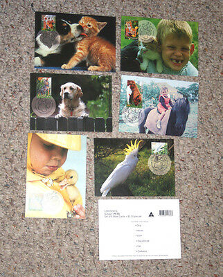 Australia Maxi Card set  PETS  set of 6 1996 Dog Cat Cockatoo Horse Duck maximum