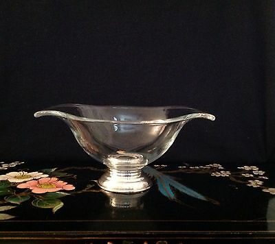 "Vintage Glass & Sterling Footed Sauce Boat- 7 1/2"" x3"" -"