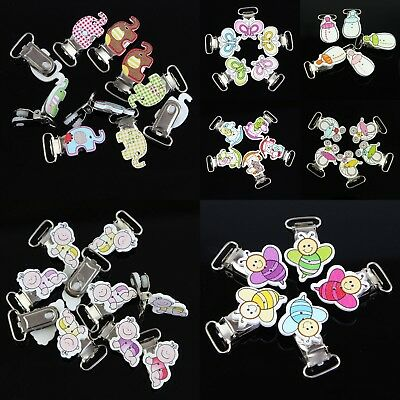 10 Pcs Cute Baby Infant Feeding Pacifier Clips Wood & Metal Holders DIY Crafts