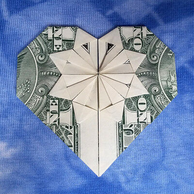HEART Money Origami Valentine Day Gift Made of Real $1 Dollar Bill