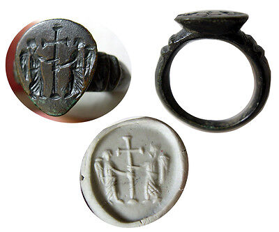 PCW-AN180-BYZANTINE Bronze Seal Ring. Ca. 5th-6th Century AD.Very Rare.