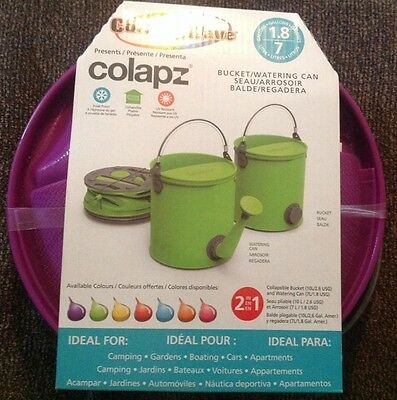 Colour Wave Colapz Collapsible Bucket/Watering Can 1.8 Gallons Purple, NEW