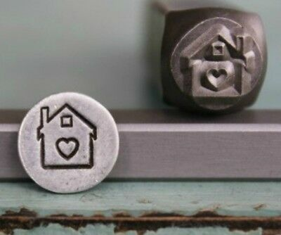 SUPPLY GUY 8mm House with Heart Metal Punch Design Stamp (SGCH-27)