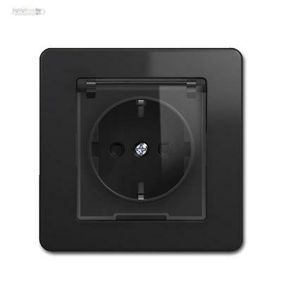 Engineer Schuko Socket Anthracite/Black with Lid Hinged Cover 10009498