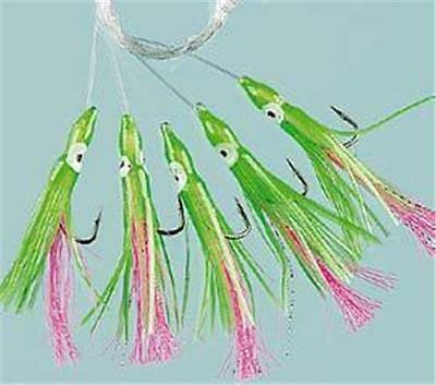 3 X Green Pink Muppet Squid Rigs Fishing Mackerel Cod Boat Sea Lures Pollack