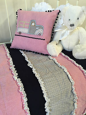 2 pce Shabby Chic Marty Vintage Ruffle Boys Cot Quilt / Blanket & Cushion