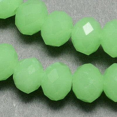 100 pcs RONDELLE FACETED GLASS CRYSTAL BEADS 6 mm Green Jade jewellery making