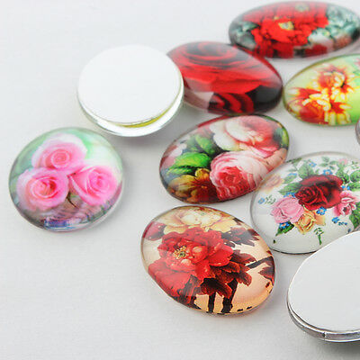 10 pcs Flower Printed Glass Oval Flatback Cabochons, Mixed Style 18mm x 13mm