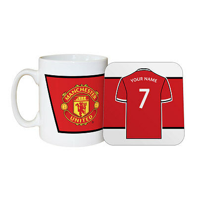 Personalised Manchester Man United FC Mug & Coaster Set Souvenir Gift Idea