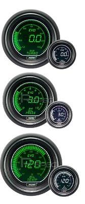 Prosport 52mm EVO Car Boost BAR + Oil Pressure + Oil Temp White Green Gauges