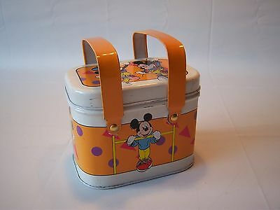 Vintage Antique Disney Micky & Minnie Mouse Workout Themed Tin Lunchbox