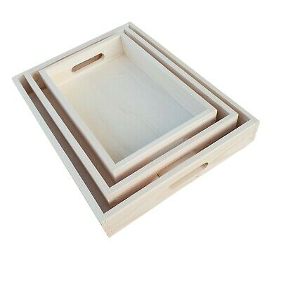 Plain Wood - Set of 3 Different Sizes Wooden Serving Trays Decoupage