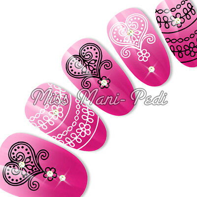 Nail Art Water Decals Transfers Stickers Love Hearts Lace Valentine Wedding S045