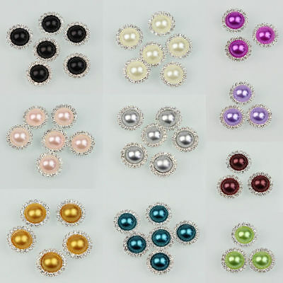 10 Pcs Rhinestone Faux Pearl Silver Tone Shank Round Buttons Sewing Crafts