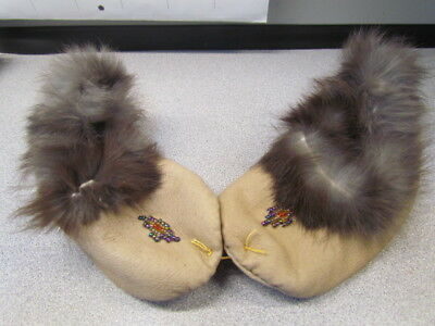 Native American Beaded Childrens Moccasins Slippers 5 Inches With Fur