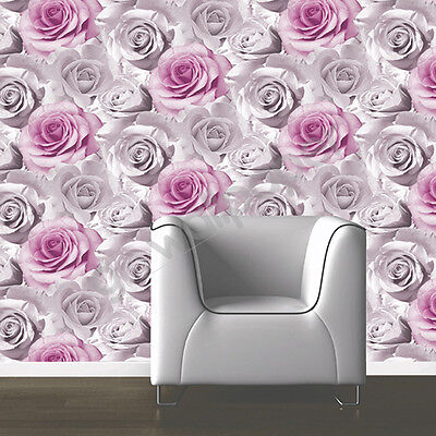 Muriva Madison Lilac Purple Pink Flower Floral Feature Designer Wallpaper 119505