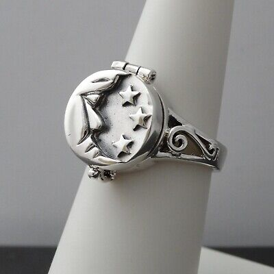 Crescent Moon Poison Ring - 925 Sterling Silver - Pillbox Rings Stars OPENS New