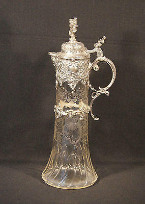 Antique German Wmf Art Nouveau Claret Jug 1890's -1900's Etched & Cut Glass.