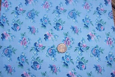 100% Cotton Fabric Blue Floral Flowers FQ Fat Quarter Pre-washed