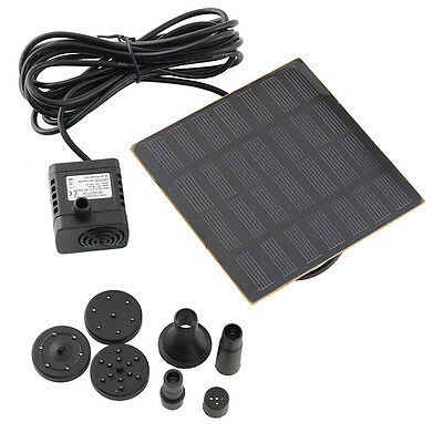 A Set Solar Power Fountain Water Pump Pool Sun Plants Watering outdoor