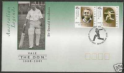 Australia 2001 Sir Donald Bradman Cricket Tribute Fdc