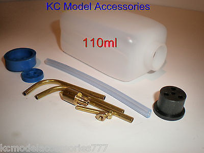 RC Fuel Tank 110 ml 4oz Ideal For Glow/ Nitro With Fitting Kit inc Tubing