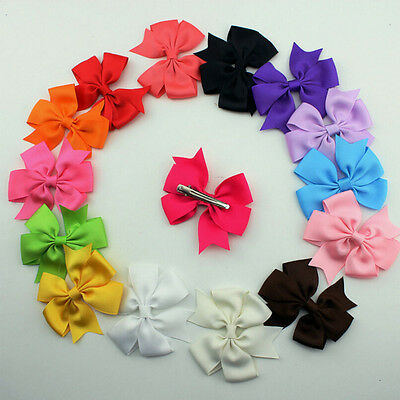12Pcs Girl Baby Bow Hair Clip Aligator Grosgrain Ribbon Boutique Bowknot Hairpin