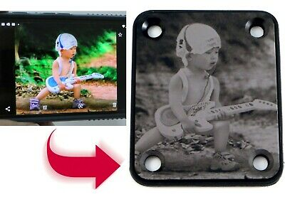 BLACK Guitar Neck Plate - Free Custom Photo Engraving - 4 Hole Fender Style