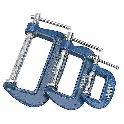 Draper 3 Piece C Clamp Set, G Clamp, 25/50/75mm Clamps Cast Iron Frame