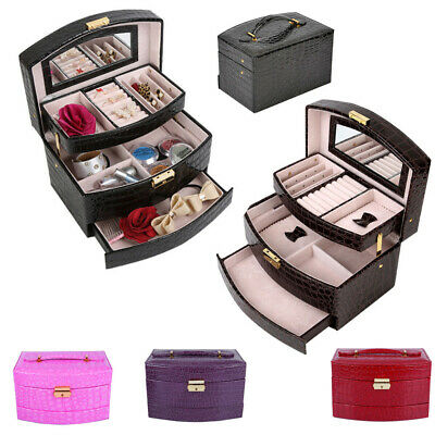 Faux Leather Jewellery Jewelry Box Storage Gift Case for Watch Ear Ring Necklace