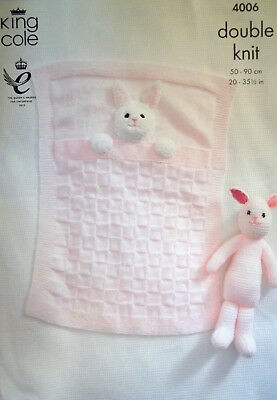 King Cole DK Knitting pattern 2 x Baby Blanket  Bunny design and Rabbit toy 4006